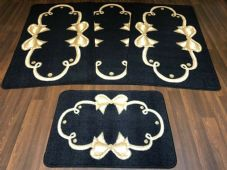 ROMANY GYPSY WASHABLE SETS OF TOURER SIZE 67X120CM MATS/RUGS BLACK/BEIGE BOWS